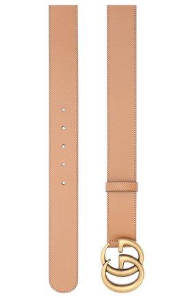 Женский кожаный ремень GUCCI темно-бежевого цвета, арт. 400593/AP00T   Фото 2 (Материал: Кожа)