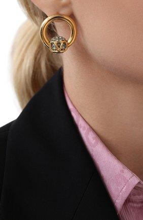 Женские серьги valentino garavani vlogo VALENTINO голубого цвета, арт. UW2J0G11/YCW   Фото 2