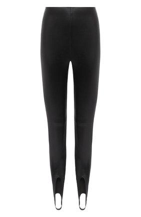 Женские кожаные леггинсы SAINT LAURENT черного цвета, арт. 626550/Y5RH2 | Фото 1