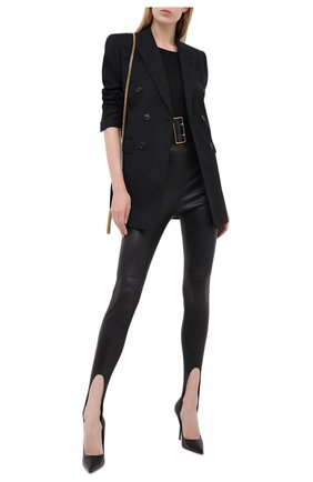 Женские кожаные леггинсы SAINT LAURENT черного цвета, арт. 626550/Y5RH2 | Фото 2