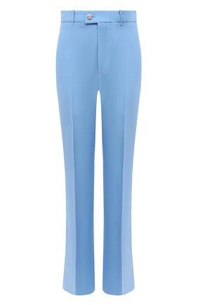 Женские брюки из шелка и шерсти GUCCI голубого цвета, арт. 632964/ZAD88 | Фото 1