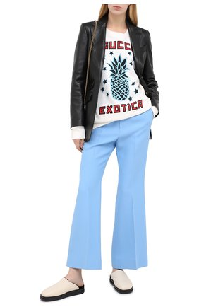 Женские брюки из шелка и шерсти GUCCI голубого цвета, арт. 632964/ZAD88 | Фото 2