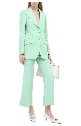 Женские брюки из шелка и шерсти GUCCI светло-зеленого цвета, арт. 632257/ZAD88 | Фото 2