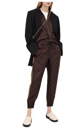 Женские шелковые джоггеры GUCCI коричневого цвета, арт. 625005/XJCL5   Фото 2