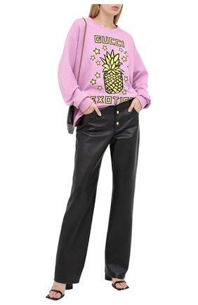 Женская хлопковый свитшот GUCCI фиолетового цвета, арт. 617964/XJCRS | Фото 2