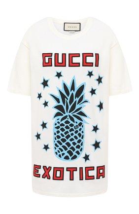 Женская хлопковая футболка GUCCI белого цвета, арт. 615044/XJCRE   Фото 1