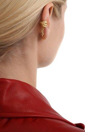 Женские серьга-кафф SAINT LAURENT золотого цвета, арт. 558200/Y1500 | Фото 2