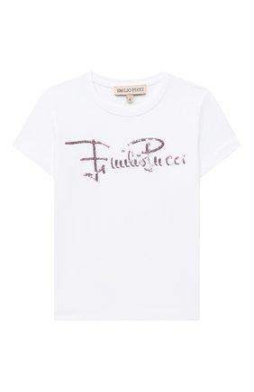 Детская хлопковая футболка EMILIO PUCCI белого цвета, арт. 9N8151/NC470/2-4 | Фото 1
