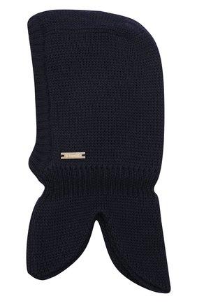Детского шерстяная шапка-балаклава IL TRENINO темно-синего цвета, арт. 20 4065/E3 | Фото 1