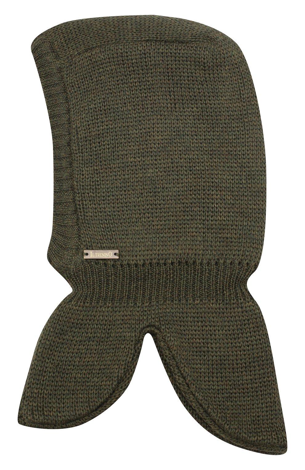 Детского шерстяная шапка-балаклава IL TRENINO хаки цвета, арт. 20 4065/E3 | Фото 1 (Материал: Шерсть)