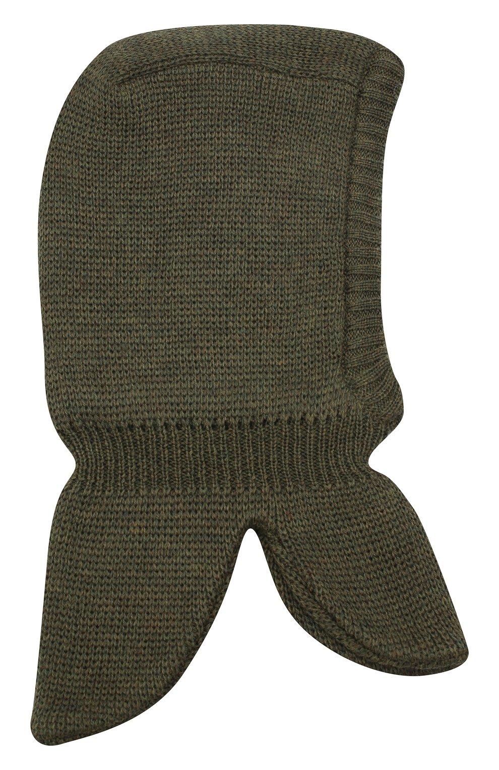 Детского шерстяная шапка-балаклава IL TRENINO хаки цвета, арт. 20 4065/E3 | Фото 2 (Материал: Шерсть)