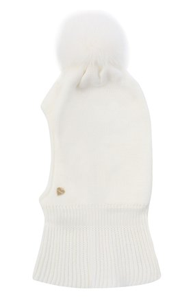 Детского шерстяная шапка-балаклава IL TRENINO белого цвета, арт. 20 4069/E0 | Фото 1