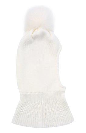 Детского шерстяная шапка-балаклава IL TRENINO белого цвета, арт. 20 4069/E0 | Фото 2