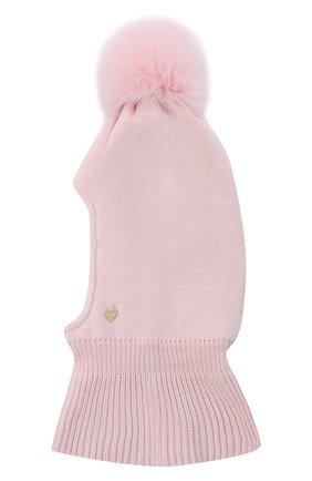 Детского шерстяная шапка-балаклава IL TRENINO розового цвета, арт. 20 4069/E0 | Фото 1