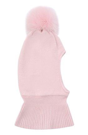 Детского шерстяная шапка-балаклава IL TRENINO розового цвета, арт. 20 4069/E0 | Фото 2