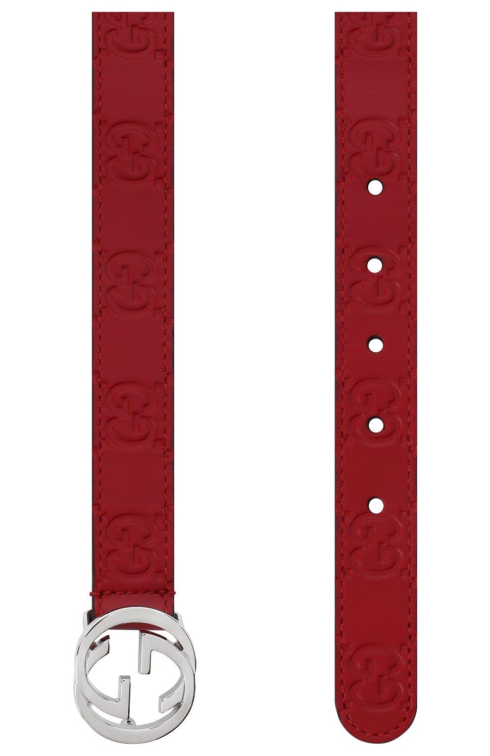 Детский кожаный ремень GUCCI красного цвета, арт. 258395/C0C0N   Фото 2