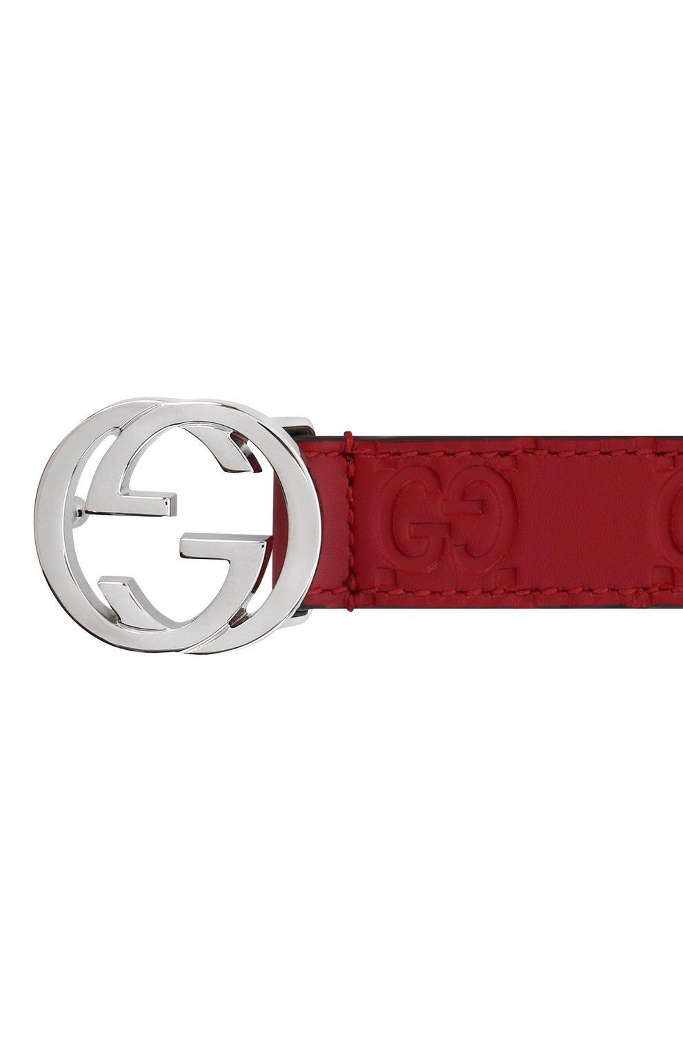 Детский кожаный ремень GUCCI красного цвета, арт. 258395/C0C0N   Фото 3