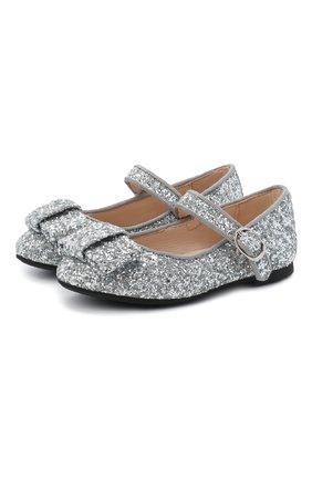Детские туфли AGE OF INNOCENCE серебряного цвета, арт. ELLEN GLITTER | Фото 1