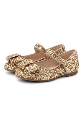Детские туфли AGE OF INNOCENCE золотого цвета, арт. ELLEN GLITTER | Фото 1
