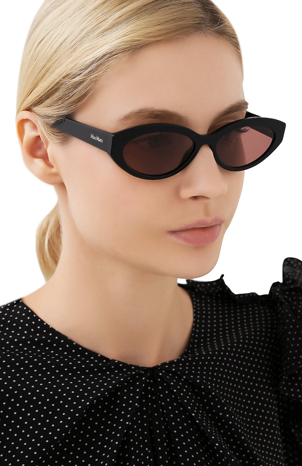 Женские солнцезащитные очки MAX MARA черного цвета, арт. SLIM I 807 | Фото 2