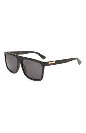 Мужские солнцезащитные очки GUCCI черного цвета, арт. GG0748S 001 | Фото 1