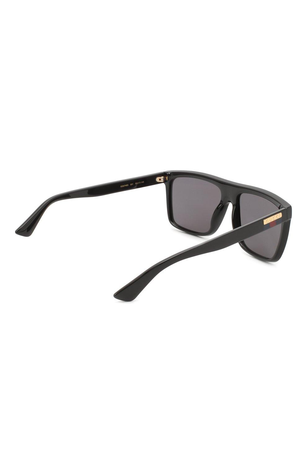 Мужские солнцезащитные очки GUCCI черного цвета, арт. GG0748S 001   Фото 4