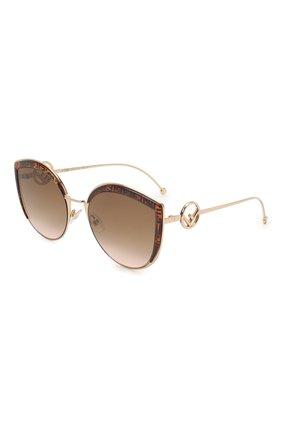 Женские солнцезащитные очки FENDI коричневого цвета, арт. 0290 VH8 | Фото 1