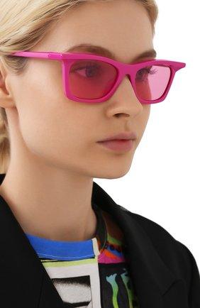 Женские солнцезащитные очки BALENCIAGA розового цвета, арт. BB0099S 003 | Фото 2