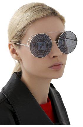Женские солнцезащитные очки FENDI серебряного цвета, арт. 0285 0IH   Фото 2
