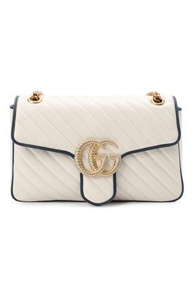 Женская сумка gg marmont medium GUCCI белого цвета, арт. 443496/00LFX | Фото 1