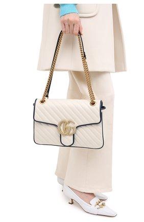 Женская сумка gg marmont medium GUCCI белого цвета, арт. 443496/00LFX | Фото 2