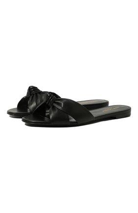 Женские кожаные шлепанцы bianca SAINT LAURENT черного цвета, арт. 633961/1N800 | Фото 1 (Материал внутренний: Натуральная кожа; Подошва: Плоская; Каблук высота: Низкий)
