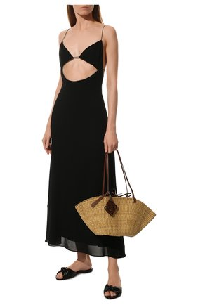 Женские кожаные шлепанцы bianca SAINT LAURENT черного цвета, арт. 633961/1N800 | Фото 2 (Материал внутренний: Натуральная кожа; Подошва: Плоская; Каблук высота: Низкий)