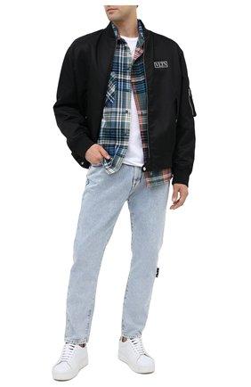 Мужская хлопковая рубашка OFF-WHITE синего цвета, арт. 0MGA133E20FAB0014510   Фото 2