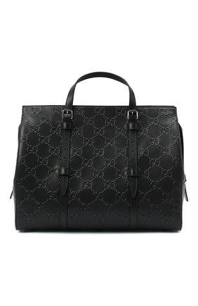 Мужская кожаная дорожная сумка GUCCI черного цвета, арт. 625772/1W3AN | Фото 1