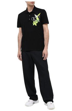 Мужское хлопковое поло VALENTINO черного цвета, арт. UV3MH01M6JK | Фото 2