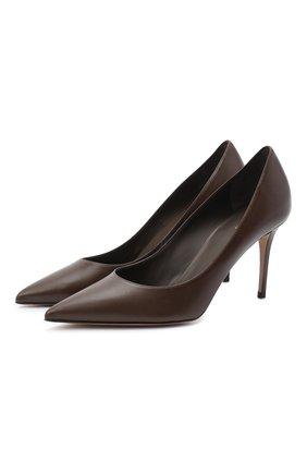 Женская кожаные туфли на шпильке LE SILLA темно-коричневого цвета, арт. 2101M080R1PPMIN | Фото 1