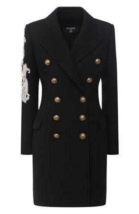 Женское шерстяное пальто BALMAIN черного цвета, арт. UF19572/P050 | Фото 1