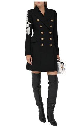 Женское шерстяное пальто BALMAIN черного цвета, арт. UF19572/P050 | Фото 2