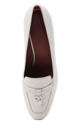 Женские замшевые туфли summer charms LORO PIANA кремвого цвета, арт. FAI7081 | Фото 5