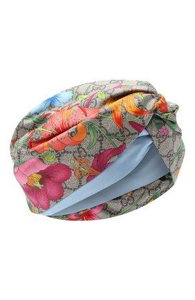 Женская шелковая повязка на голову GUCCI синего цвета, арт. 609319/3GC02 | Фото 1