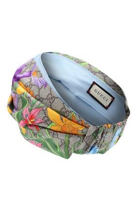 Женская шелковая повязка на голову GUCCI синего цвета, арт. 609319/3GC02 | Фото 2