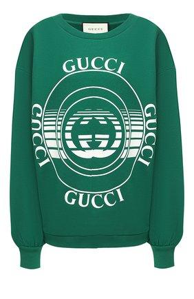 Женская хлопковый свитшот GUCCI зеленого цвета, арт. 631695/XJCRR   Фото 1