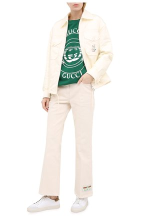 Женская хлопковый свитшот GUCCI зеленого цвета, арт. 631695/XJCRR   Фото 2