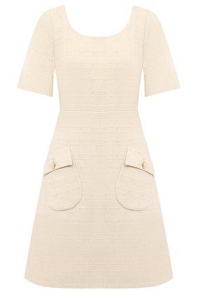 Женское платье из хлопка и шерсти GUCCI бежевого цвета, арт. 631480/ZAD93 | Фото 1