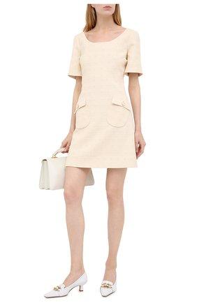Женское платье из хлопка и шерсти GUCCI бежевого цвета, арт. 631480/ZAD93 | Фото 2
