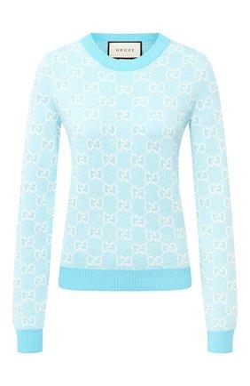 Женская пуловер из шерсти и хлопка GUCCI голубого цвета, арт. 629459/XKBHQ | Фото 1