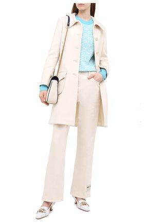 Женская пуловер из шерсти и хлопка GUCCI голубого цвета, арт. 629459/XKBHQ | Фото 2