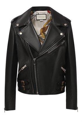 Женская кожаная куртка GUCCI черного цвета, арт. 629189/XN336   Фото 1