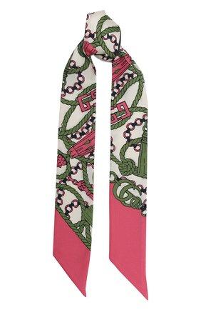 Мужские шелковый шарф GUCCI розового цвета, арт. 627814/3G001 | Фото 1